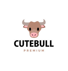 cute bull flat logo icon vector image