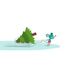 cute mouse pulling sled with fir-tree on it vector image