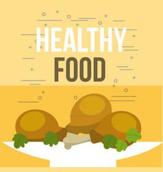 delicious chicken pieces and salad healthy food vector image