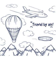 Doodle air trip concept vector