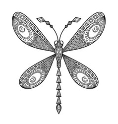 Dragonfly antistress doodle coloring book vector