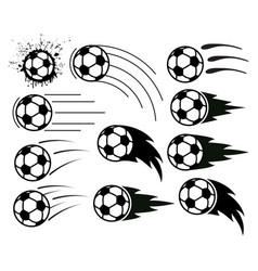 drawing flying soccer and football balls vector image