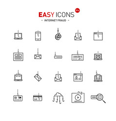 easy icons 51a intetnet fraud vector image