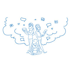 Family chat digital device tablet phone laptop vector