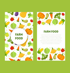 Farm food banners set with place for test fresh vector