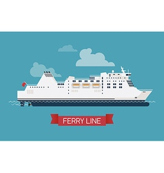 Ferry Line Ship Icon vector image