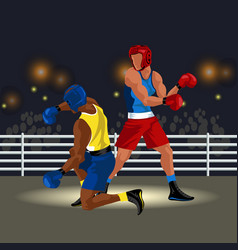 fighters battle in ring in sportswear and with vector image