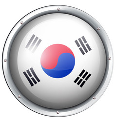 flag of south korea in round frame vector image