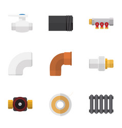 Flat icon pipeline set of industry iron plastic vector