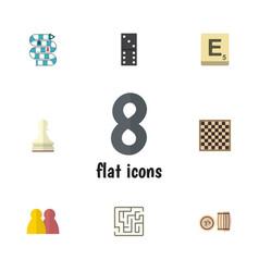 Flat icon play set of labyrinth lottery mahjong vector