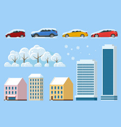 Flat isolated winter icons snowy car snowdrift vector