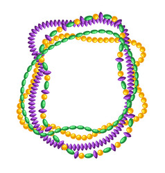 Frame with beads in mardi gras colors vector