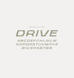 geometric sans serif italic font in racing style vector image