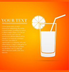 glass of juice orange slice and tube for drinking vector image vector image