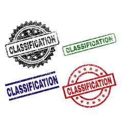 Grunge textured classification stamp seals vector