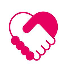 Handshake in the form of heart vector