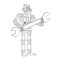 Highly detailed android robot with a wrench vector