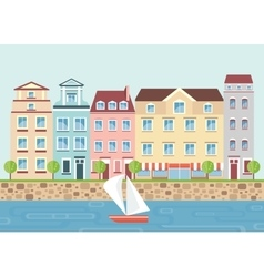House on waterfront vector