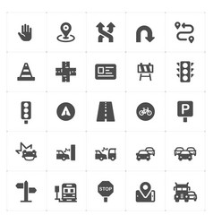 icon set - traffic and accident filled icon style vector image