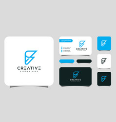 Initials letter f logo design and business card vector