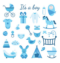It is a boy - set blue toys and gifts for baby vector