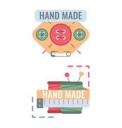 Labels for handmade embroidery tailor hand vector