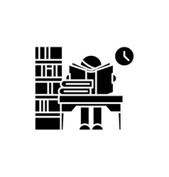 library black icon sign on isolated vector image