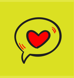 love message and heart on a yellow background vector image
