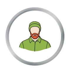 Lumberjack icon in cartoon style isolated on white vector