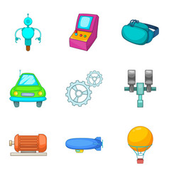 Machine icons set cartoon style vector