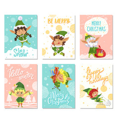 Merry christmas let it snow greeting cards set vector