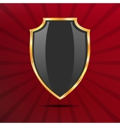 Metallic black golden shield on red background vector image vector image