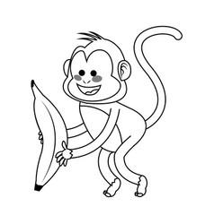 Monkey cartoon icon vector