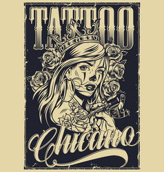 Monochrome vintage chicano tattoo poster vector