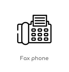 Outline fax phone icon isolated black simple line vector