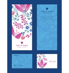 Pink flowers vertical frame pattern vector