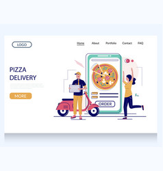 pizza delivery website landing page design vector image