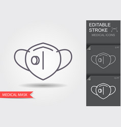 Protection face mask with flap line icon with vector