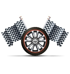 Racing Wheel With Flags vector image