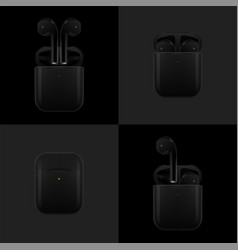 Realistic black new airpods vector