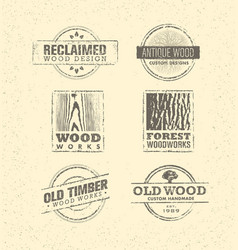 Reclaimed wood design element creative set of vector