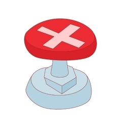Red button with cross sign icon cartoon style vector image
