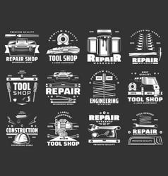 repair tool toolbox hammer drill screwdriver vector image