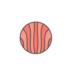round flat salmon slice colored icon or vector image