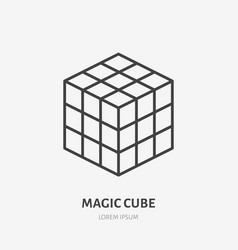 Rubik magic cube flat line icon puzzle game vector