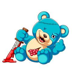 Scary teddy bear holding knife vector