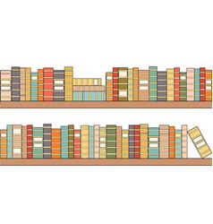 Seamless bookshelves with colorful books library vector