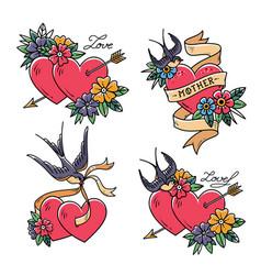 Set heart tattoos with birdsold school style vector