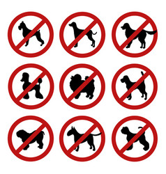 Set of dog prohibition signs different breeds vector
