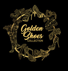 Set of isolated sketches of golden woman shoes vector